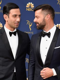 El cantante Ricky Martin con su esposo Jwan Yosef.