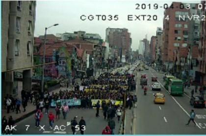 Manifestación de estudiantes del Sena por la carrera Séptima