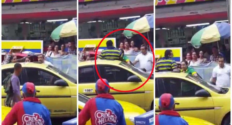 Hombre pelea con taxista.