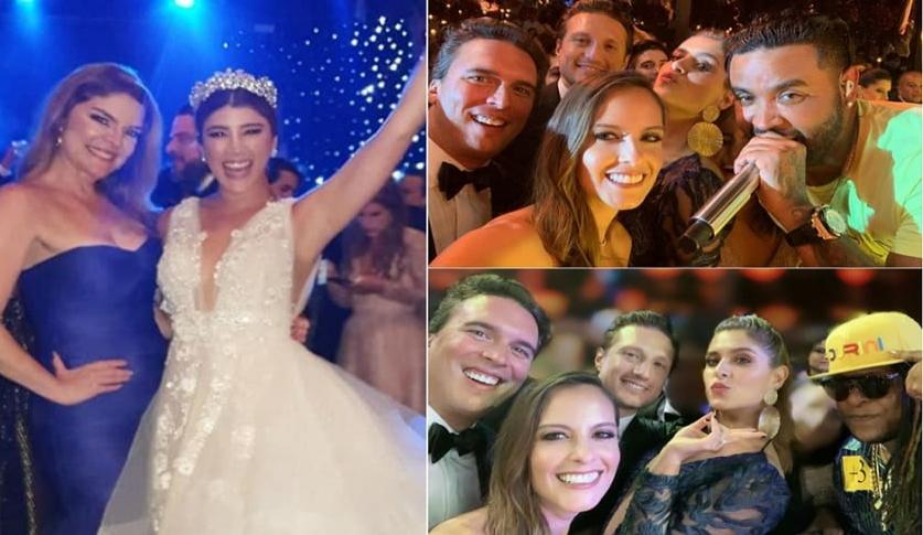 Rosa María Corcho, Andrea Jaramillo, Laura Acuña (con su esposo Rodrigo Kling) y Laura Tobón (con su marido Álvaro Rodríguez), presentadoras, y los cantantes Zion y Lennox.