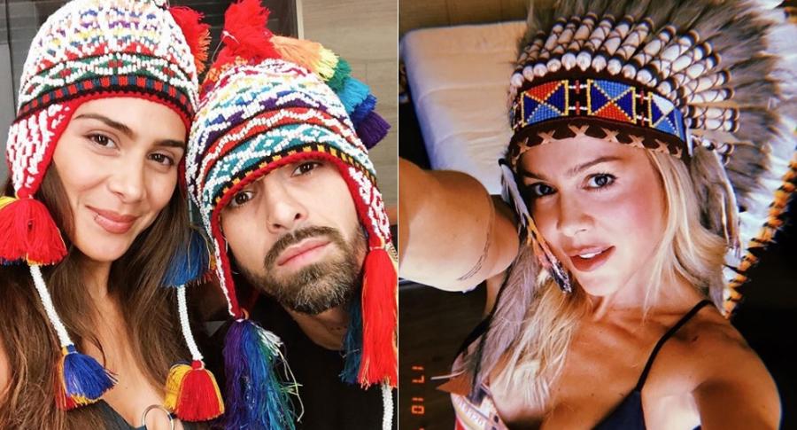 Greeicy Rendón y Mike Bahía, cantante, y Natalia París, modelo.