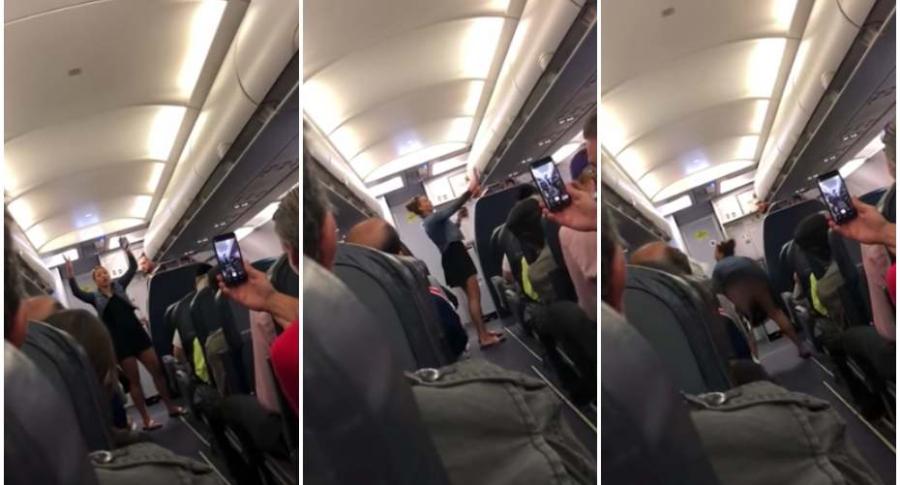 Mujer hace 'twerking' en un avión.
