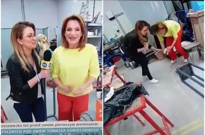 Periodista bota escultura al suelo.