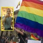 Agresor y bandera de la comunidad LGTBI