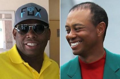 Faustino Asprilla y Tiger Woods