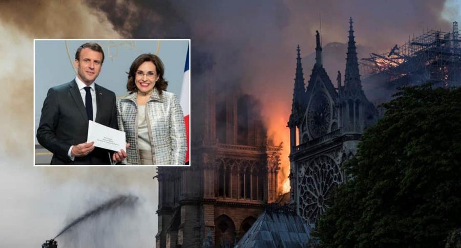Viviane Morales, Emmanuele Macron y catedral de Notre Dame