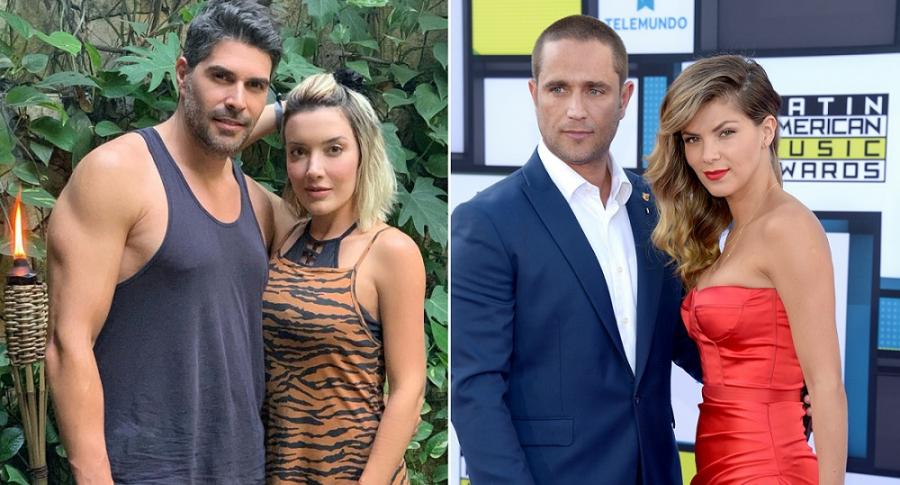 Juan Pablo Llano, presentador, con su esposa Catalina Gómez, exprotagonista de novela; y Michel Brown, actor, con su pareja y colega, Margarita Múñoz.