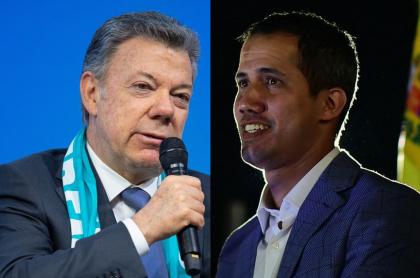 Juan Manuel Santos y Juan Guaidó