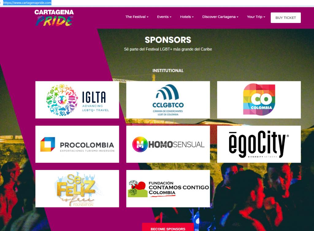 Captura página web Cartagena Pride