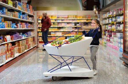 Carro para supermercado futurista