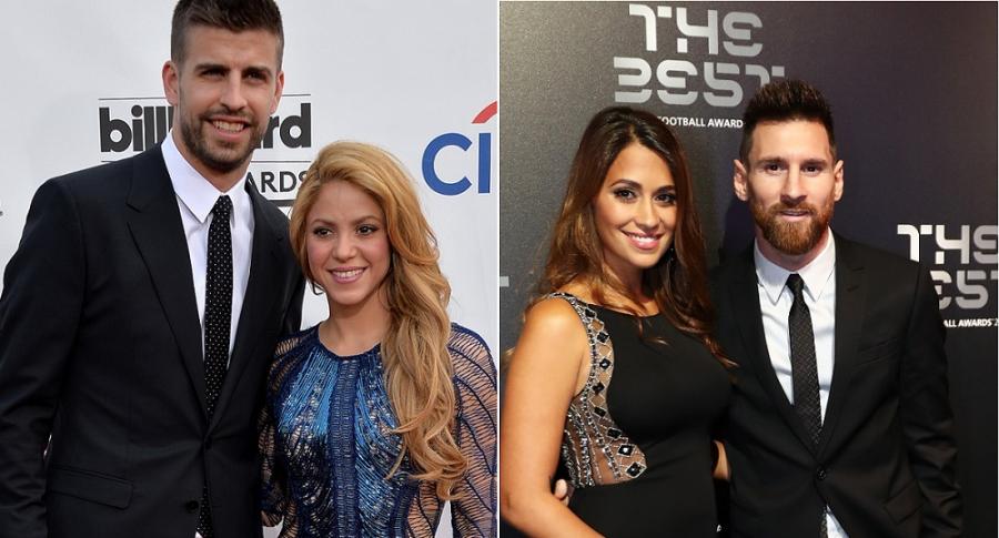 Gerard Piqué y Lionel Messi, futbolistas, con sus parejas Shakira, cantante, y Antonela Roccuzzo.
