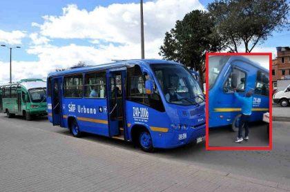 Bus de SITP y agresor a conductor.