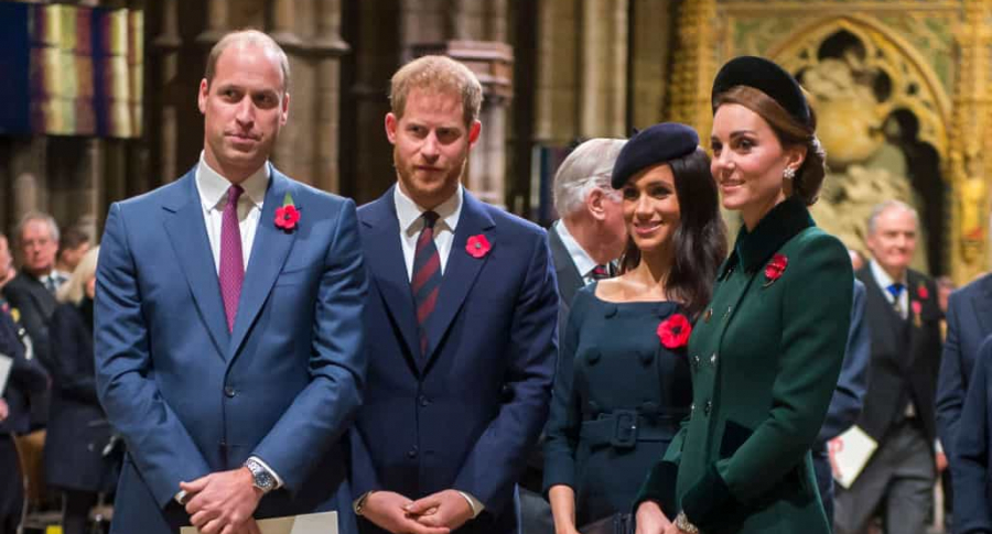 Príncipes William y Harry, Meghan Markle y Kate Middleton.