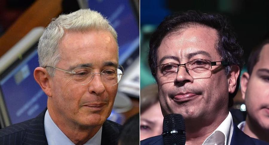 Álvaro Uribe y Gustavo Petro, senadores.