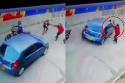 Momento en que carro atropella ladrona