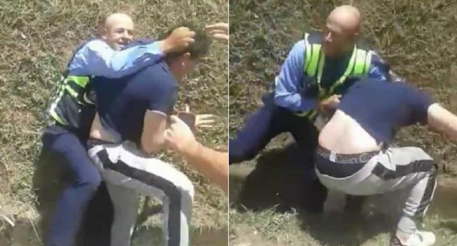 Agresión a guarda en Medellín