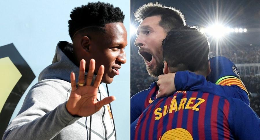Yerry Mina, Lionel Messi y Luis Suárez