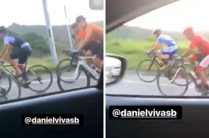 Hombre insultando a ciclistas