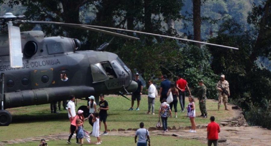 Helicóptero del Ejército con civiles en Ciudad Perdida