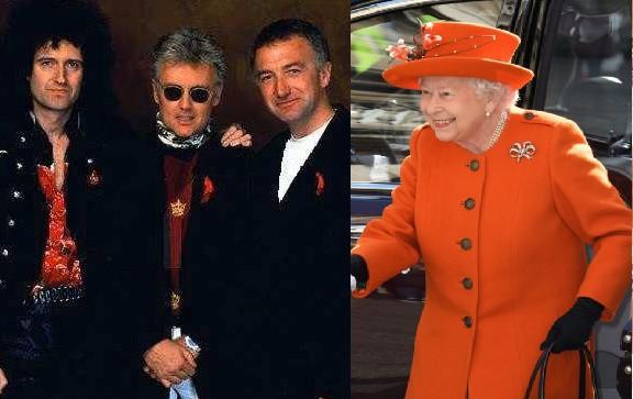 Brian May, Roger Taylor, John Deacon y la Reina Isabel II