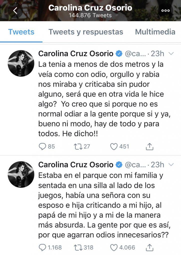 Tuits de Carolina Cruz