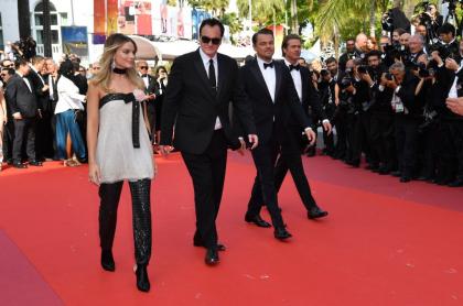 Margot Robbie, Quentin Tarantino, Leonardo DiCaprio y Brad Pitt