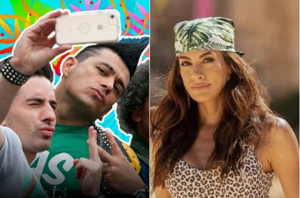 Los actores Santiago Reyes y Santiago Alarcón, y la presentadora Andrea Serna.
