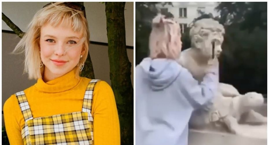 Influenciadora polaca rompe estatua.