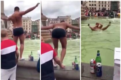Hombre salta a fuente.