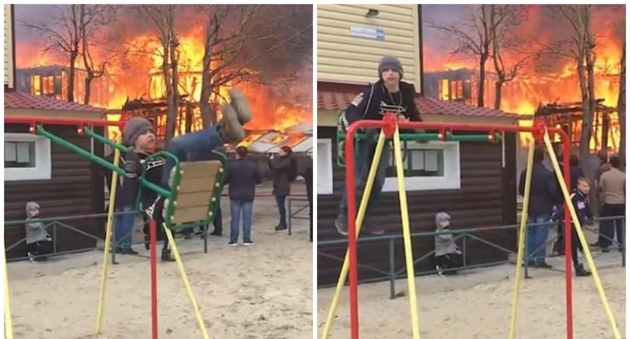 Niño juega cerca de incendio.