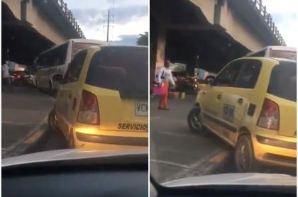 Taxista se sube a andén, en Cali.