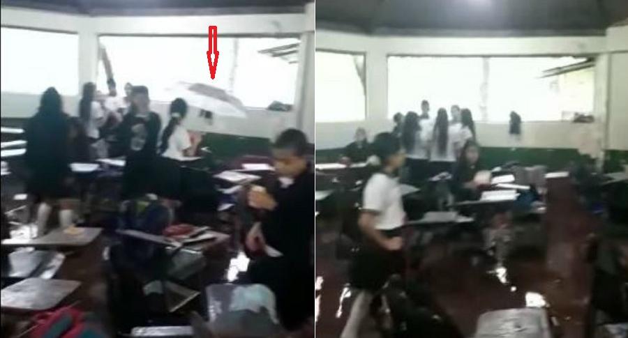 Inundación en colegio en Ibagué