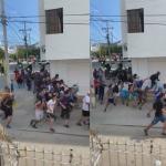 Sujetos con armas blancas huyendo de Policía.