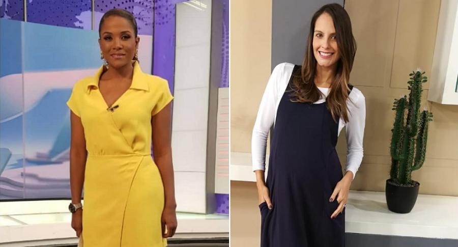 Mabel Lara y Laura Acuña, presentadoras.