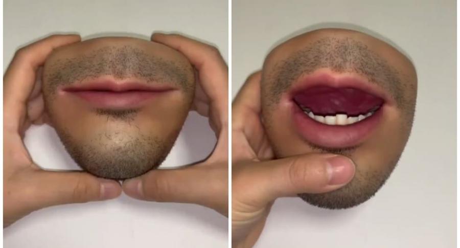 Monedero con apariencia de boca humana.