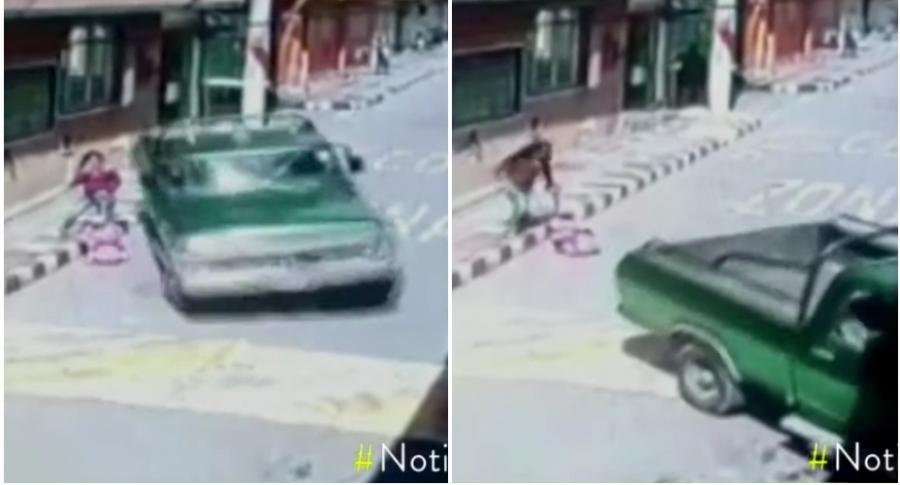 Mujer y bebé se salvan de ser atropelladas.