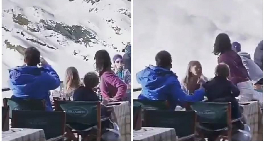 Familia huye de avalancha.