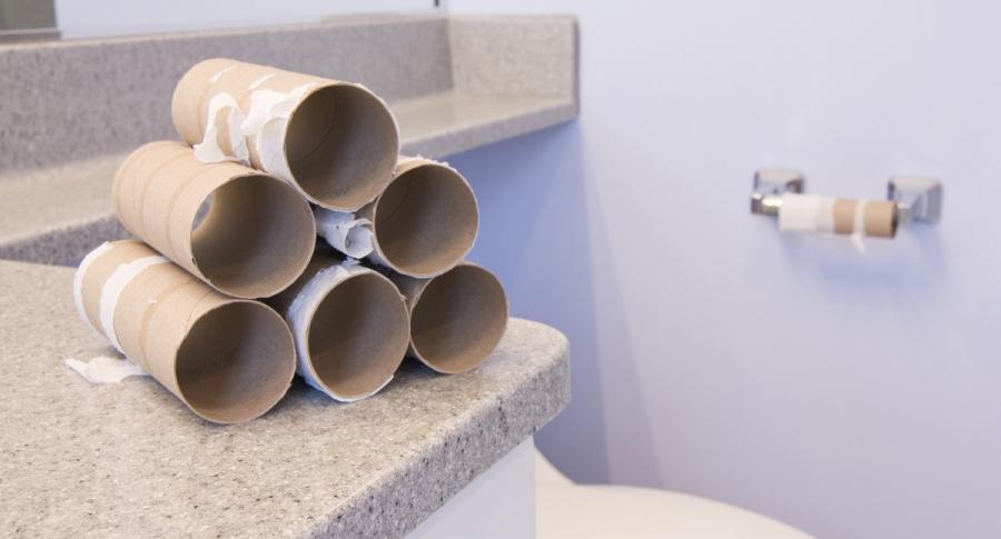 Rollos de papel higiénico desocupados.