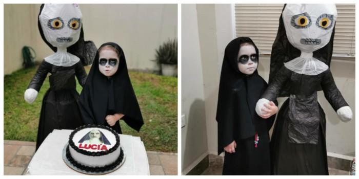 Niña disfrazada de 'La monja'