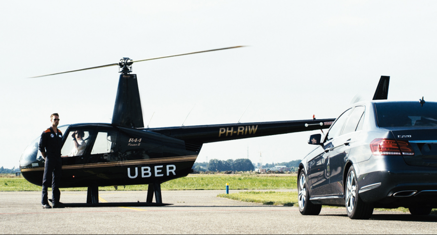 Helicóptero y automóvil de Uber