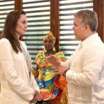 Angelina Jolie, actriz, e Iván Duque, presidente de Colombia.