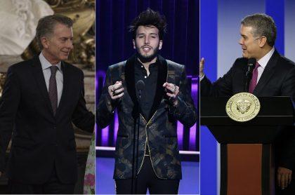 Mauricio Macri, presidente de Argentina; Sebastián Yatra, cantante; e Iván Duque, presidente de Colombia.