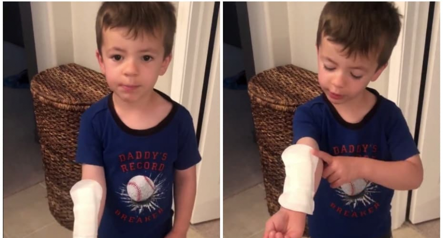 Niño usa toalla higiénica como cura.
