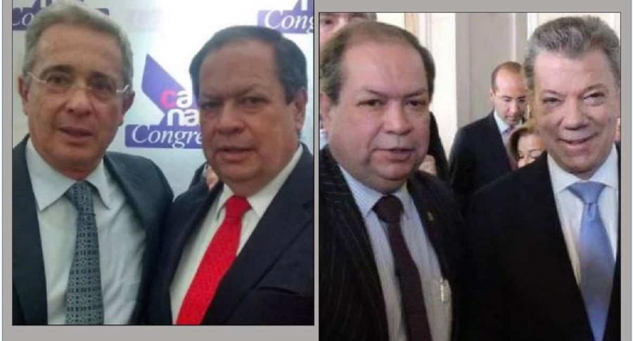 Gustavo castro con los expresidentes Álvaro Uribe y Juan Manuel Santos