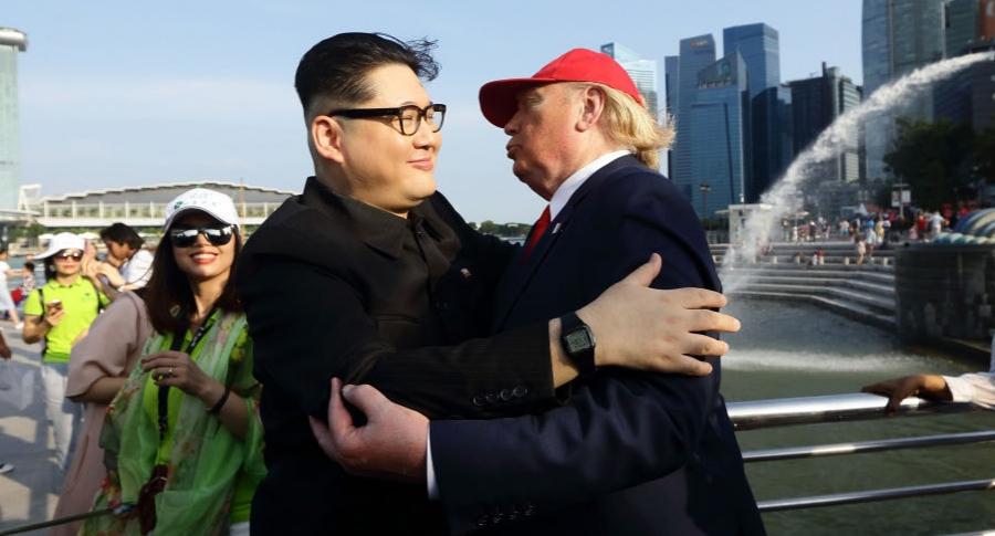 Imitadores de Kim Jong-un y Donald Trump