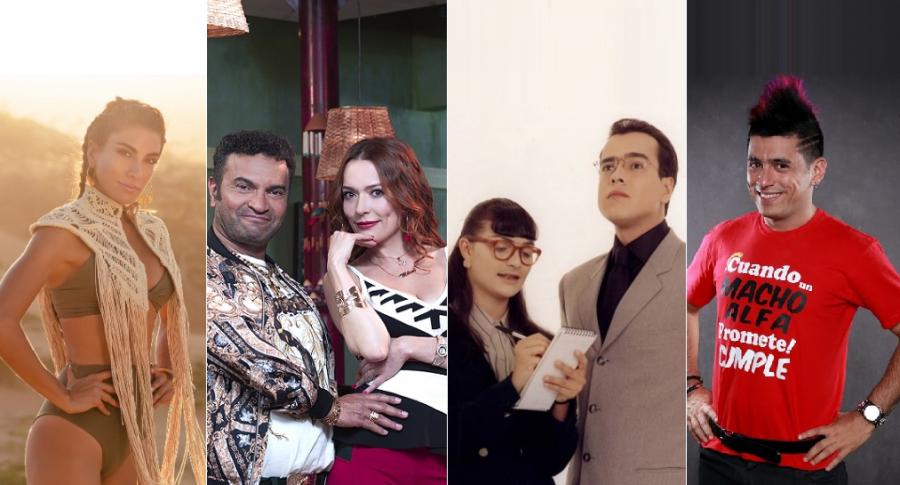 La presentadora Andrea Serna y los actores Diego Vásquez, Carolina Acevedo, Ana María Orozco, Jorge Enrique Abello y Santiago Alarcón.