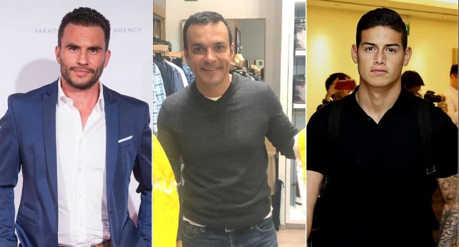 Juan Pablo Raba, actor; Juan Diego Alvira, presentador; y James Rodríguez, futbolista.