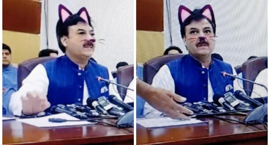 Ministro pakistaní con filtro de gato.
