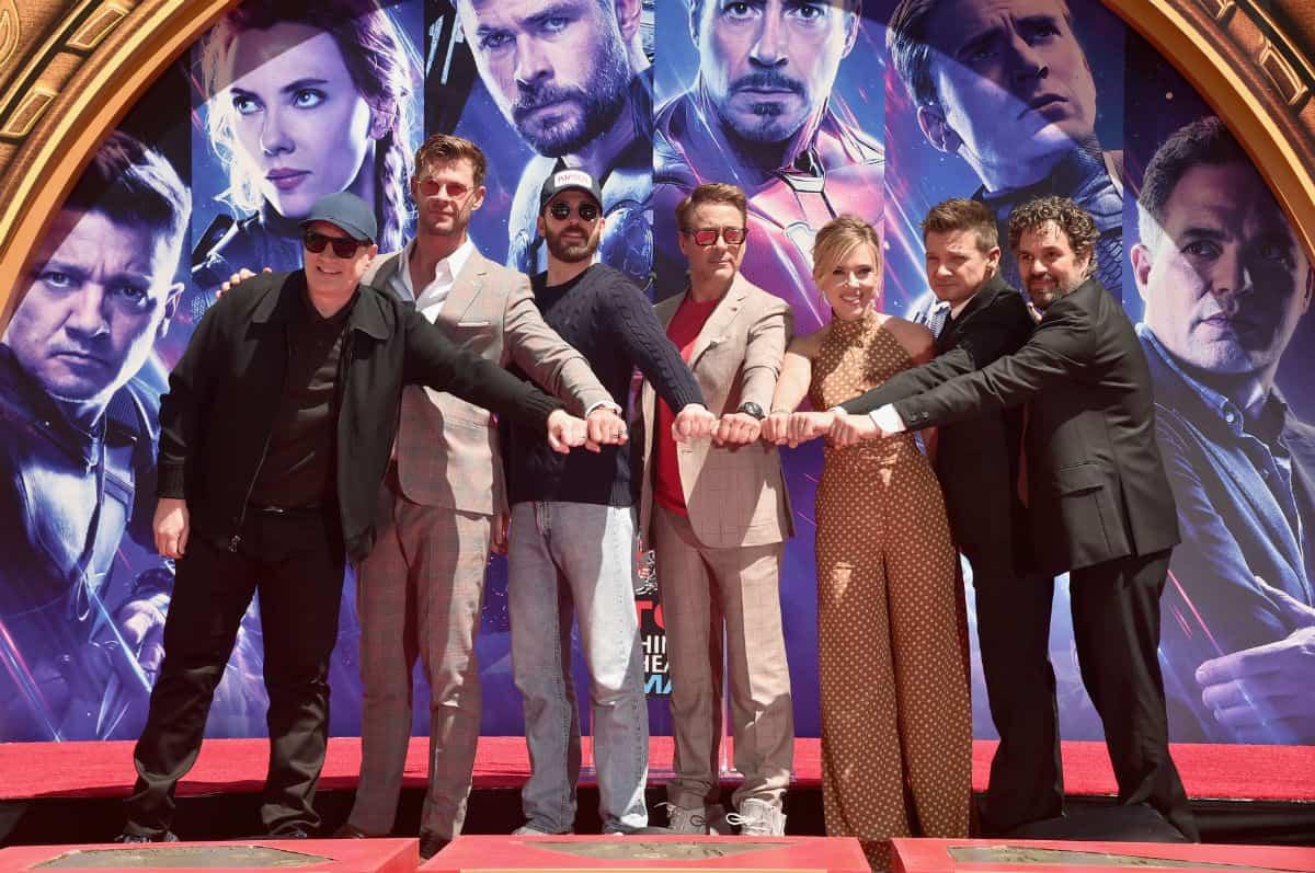 Kevin Feige, Chris Hemsworth, Chris Evans, Robert Downey Jr., Scarlett Johansson, Jeremy Renner y Mark Ruffalo.