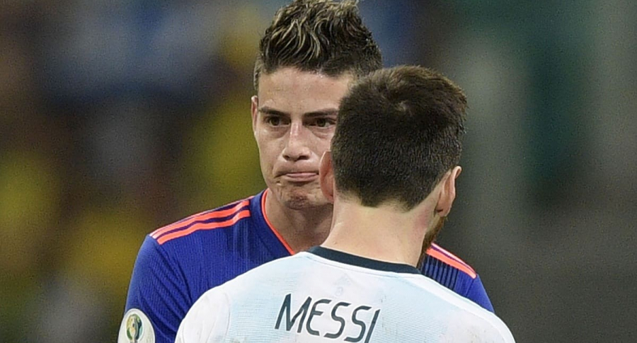 James Rodríguez y Lionel Messi